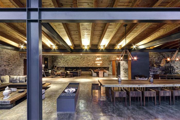 Stone House với Magnificent Xem Elias Rizo Arquitectos nhiều yếu tố trang trí phòng ăn mộc mạc