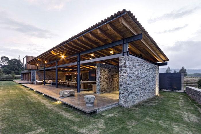 Stone House với Magnificent Xem Elias Rizo Arquitectos nhà nội thất ngoài trời kết nối