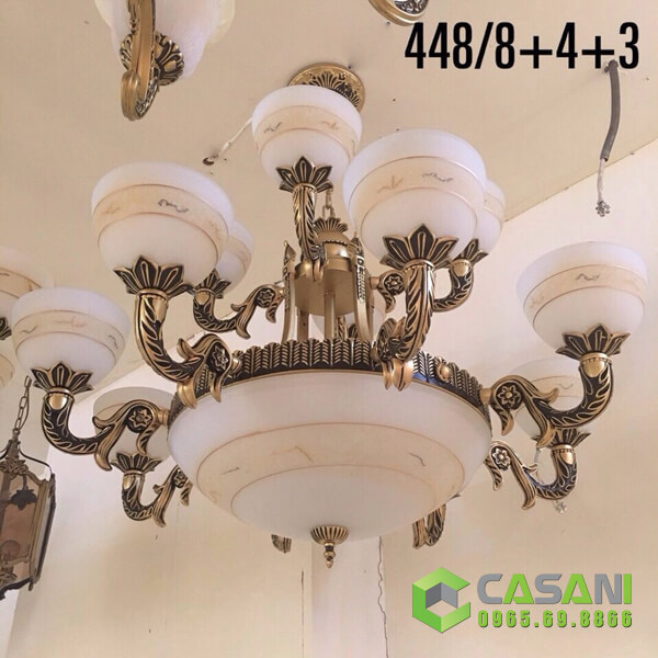 Đèn Chùm Giả Đồng CCD-448-8-4 thiết kế đơn giản, họa tiết tinh tế