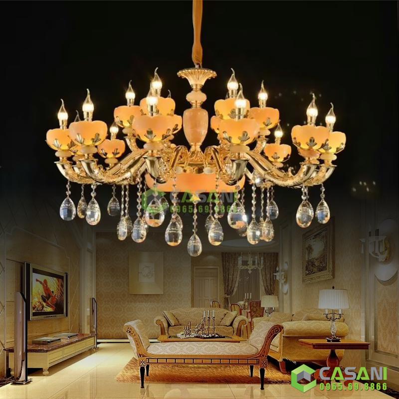 đèn chùm led cho không gian phòng khách sang trọng