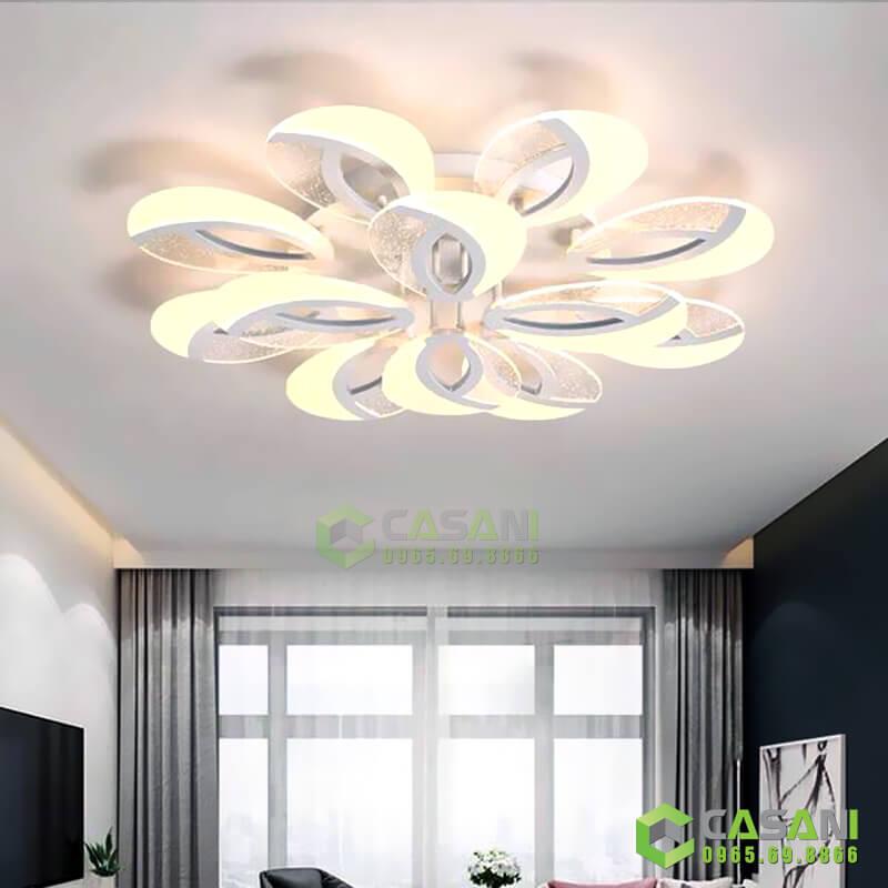đèn mâm ốp trần phòng khách hiện đại